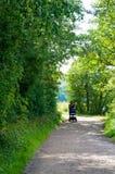 Frau mit Buggy auf Fußweg lizenzfreie stockfotos