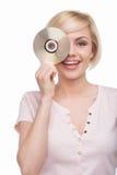 Frau mit CD-Scheibe. Lizenzfreie Stockfotos