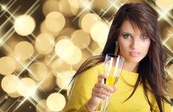 Frau mit Champagner Lizenzfreies Stockfoto