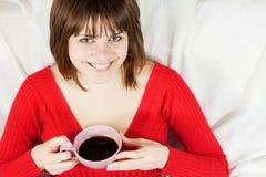 Frau mit cofee Lizenzfreies Stockbild