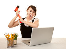 Frau mit Computer Stockbilder