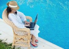 Frau mit Computer Lizenzfreie Stockfotografie
