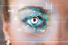 Frau mit Cybertechnologieaugen-Plattenkonzept lizenzfreie abbildung