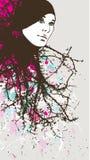Frau mit dem abstrakten Haar Vektor Abbildung
