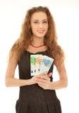 Frau mit dem Banknotelächeln stockbilder