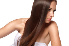 Frau mit dem Beautifull Haar Stockfotografie