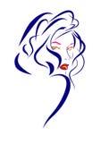 Frau mit dem blauen Haar Stockfotografie
