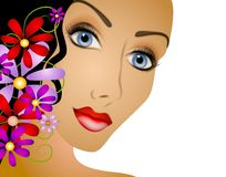 Frau mit dem Blumen-Haar Stockbild