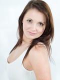 Frau mit dem braunen Haar Stockbilder