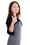 Frau mit dem Daumen oben Lizenzfreie Stockbilder