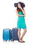 Frau mit dem Gepäck lokalisiert Lizenzfreies Stockbild