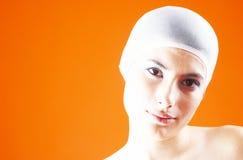 Frau mit dem Haar abgedeckt - 7 Stockfotografie