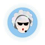 Frau mit dem Haar hergestellt von den Seifenblasen in den Kopfhörern mit einem Mikrofon Flache Avataraikone Lizenzfreie Stockbilder
