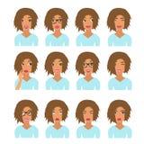 Frau mit dem hellbraunen Haar und den Gefühlen Benutzerikonen Avatara-Vektorillustration lizenzfreie abbildung