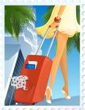 Frau mit dem Koffer Stockbild