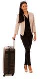 Frau mit dem Koffer, der auf eine Geschäftsreise geht Lizenzfreies Stockbild