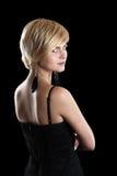 Frau mit dem kurzen blonden Haar stockbild