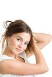 Frau mit dem langen braunen Haar Lizenzfreies Stockfoto