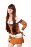 Frau mit dem langen braunen Haar der Schönheit Stockfotografie