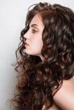 Frau mit dem langen braunen Haar der Schönheit, werfend am Studio auf Stockfoto