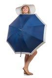 Frau mit dem Regenschirm lokalisiert Lizenzfreies Stockbild