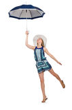 Frau mit dem Regenschirm lokalisiert Stockfotografie