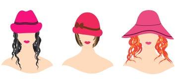 Frau mit dem schönen Haar in den Hüten Stockfotos