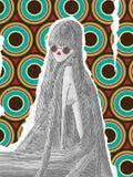 Frau mit dem sehr langen Haar mit einem Retro- Hintergrund lizenzfreie abbildung
