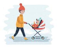 Frau mit dem Spaziergänger, der in a während des reizenden Winters spazierengeht Junge Mutter, die Babylaufkatze drückt Stockbild