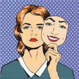 Frau mit dem traurigen unglücklichen Gesicht, das Maskenfälschungslächeln hält Vektorillustration in der komischen Retro- Pop-Art lizenzfreie abbildung