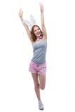 Frau mit den angehobenen Häschenohren übergibt oben Stockfotos