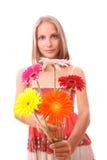 Frau mit den Blumen, getrennt stockfotografie