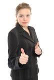 Frau mit den Daumen o.k. Stockbilder