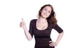 Frau mit den Daumen oben Stockfotos