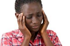 Frau mit den Hauptschmerz lizenzfreie stockbilder