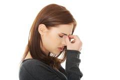 Frau mit den Kurvendruckschmerz Stockfoto
