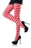 Frau mit den langen Beinen Stockbild