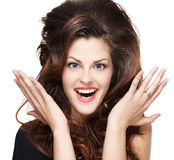 Frau mit den langen braunen Haaren Stockbilder