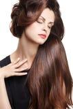 Frau mit den langen braunen Haaren Stockbild