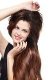 Frau mit den langen braunen Haaren Stockfotografie