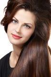 Frau mit den langen braunen Haaren Lizenzfreie Stockfotos