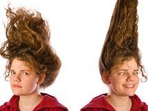 Frau mit den lockigen Haaren der Schönheit Stockfotos
