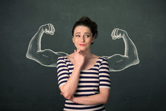 Frau mit den skizzierten starken und Armen mit Muskeln Lizenzfreies Stockfoto