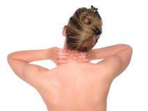 Frau mit den Stutzenschmerz Stockbild