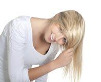 Frau mit den tousled Haaren Stockbilder