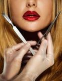 Frau mit den verlockenden Lippen Lizenzfreies Stockbild