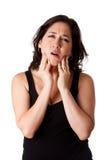 Frau mit den zahnmedizinischen Kieferschmerz Lizenzfreie Stockfotografie