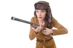 Frau mit der Gewehr getrennt Stockbild