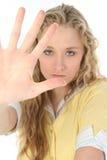 Frau mit der Hand oben lizenzfreie stockfotos