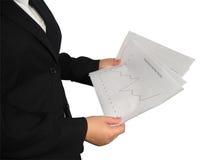 Frau mit Diagramm lizenzfreie stockbilder